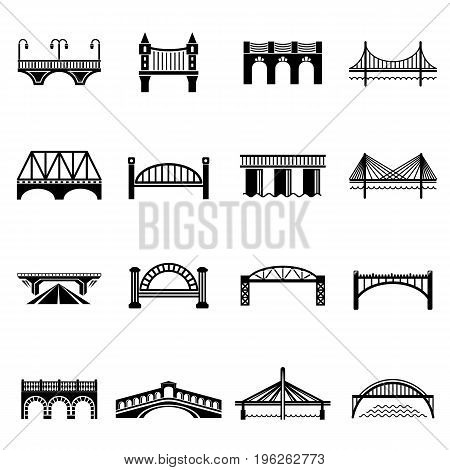 Bridge icons set. Simple illustration of 16 bridge icons set vector icons for web