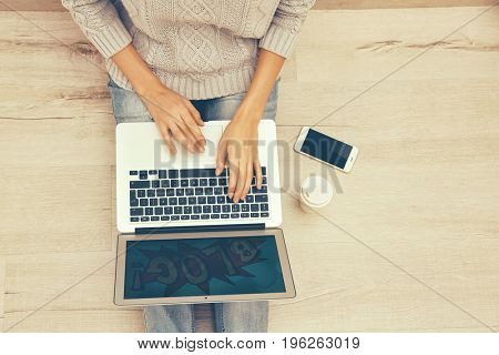 Woman using laptop for browsing internet store at home. Online shopping concept
