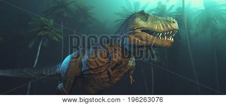 Dino dinosaurs with large fangs in a forest. This is a 3d render illustration