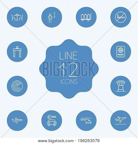 Set Of 12 Aircraft Outline Icons Set