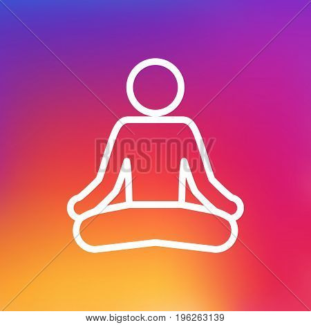Isolated Meditate Outline Symbol On Clean Background