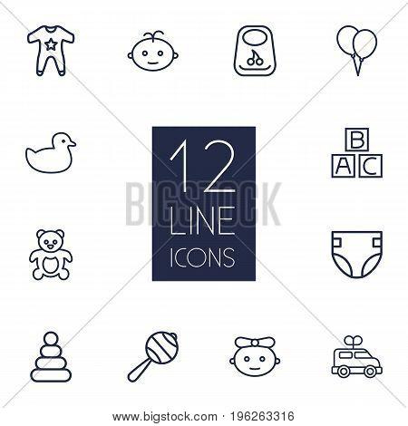 Set Of 12 Kid Outline Icons Set