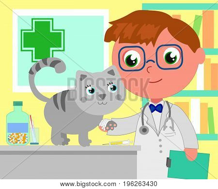 Male veterinary in her office with a patient kitty cartoon vector illustration