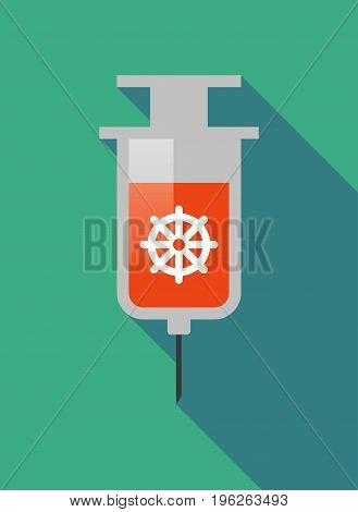 Long Shadow  Syringe With A Dharma Chakra Sign