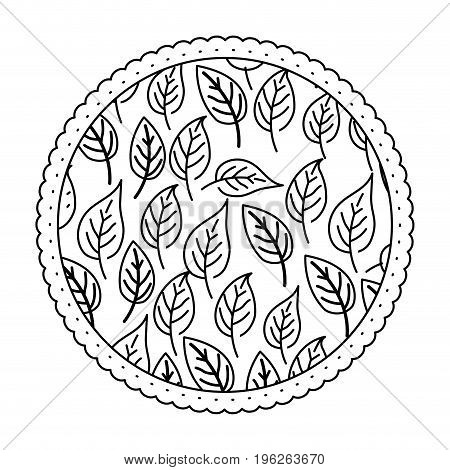 white background with monochrome circular frame with pattern of ovoid leaves vector illustration