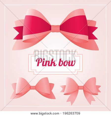 Collection of pink bows. Luxury ribbons collection. bow for page decor isolated on pink