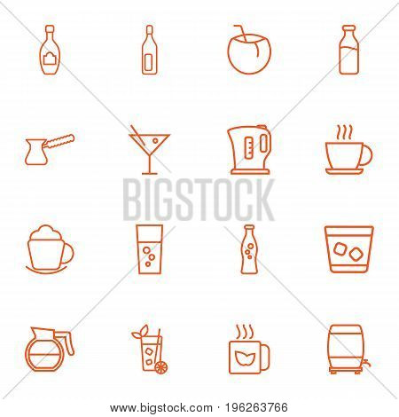 Set Of 16 Drinks Outline Icons Set