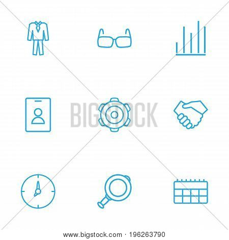 Set Of 9 Business Outline Icons Set
