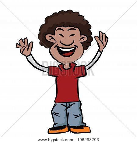 Colorful Cartoon of Boy was smiling with afro hair style african teen make hands up - Vector illustration.