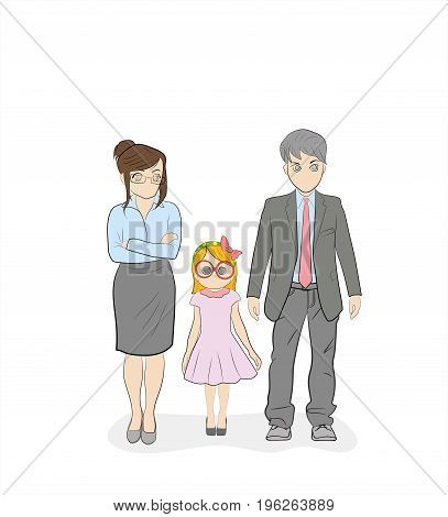 Parents strictly look at their daughter. Upbringing. Hand drawn cartoon vector illustration for design and infographics.