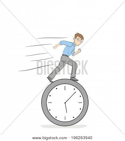 The man is running on the clock. Life concept. Vector illustration for business and infographics.