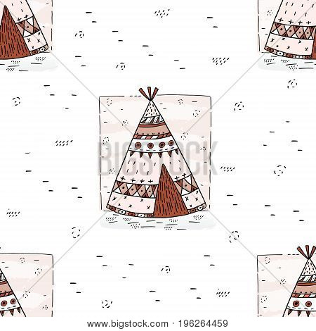 Hand drawn Cute seamless pattern with tee pee wigwam North American Indian teepee