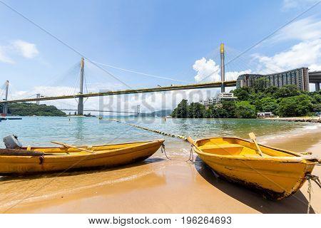 Ting Kau bridge and boat