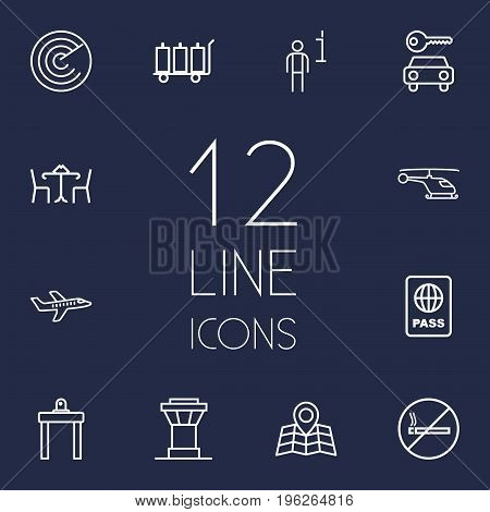Set Of 12 Airplane Outline Icons Set