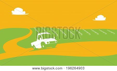 Agriculture and Farming landscape abstract view. Agrotourism. Agribusiness. Rural landscape. Design elements for info graphic websites and print media. Vector illustrations