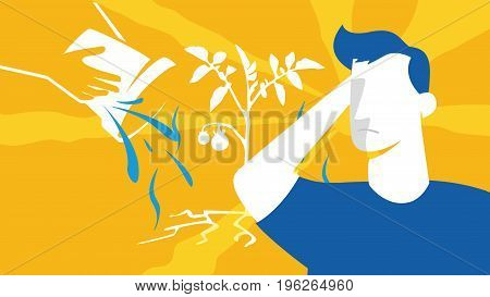 Men Silhouette At The Farming Fields. Abstract Vector. Agrotourism. Agribusiness. Rural Landscape. D