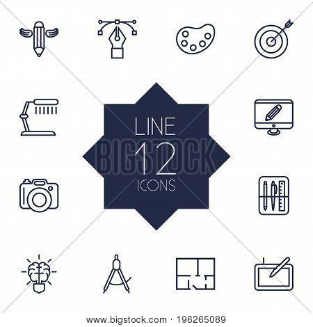 Set Of 12 Constructive Outline Icons Set