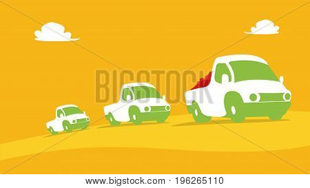 Abstract Vehicles Background. Agriculture And Farming. Agrotourism. Agribusiness. Design Elements Fo