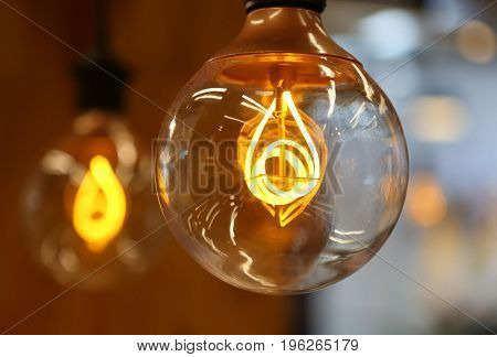 Large electric bulb with incandescent spiral