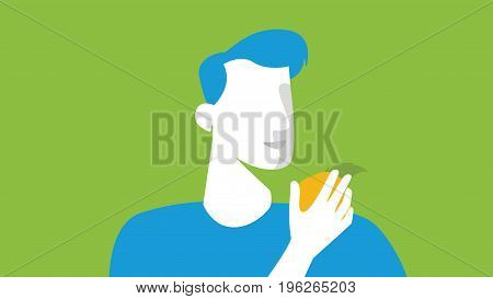 Men Silhouette Eating Quince At The Farming Fields. Abstract Vector. Agrotourism. Agribusiness. Rura