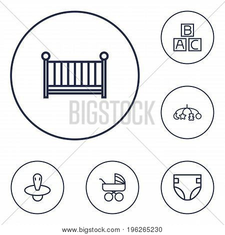 Set Of 6 Kid Outline Icons Set