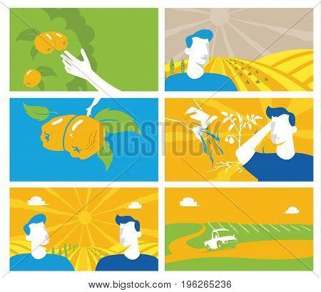 Collection Of Agriculture And Farming Set Backgrounds. Agribusiness. Rural Landscape. Design Element
