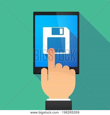 Long Shadow Tablet Pc With A Floppy Disk