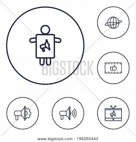 Set Of 6 Trade Outline Icons Set