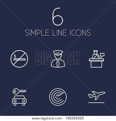 Set Of 6 Plane Outline Icons Set