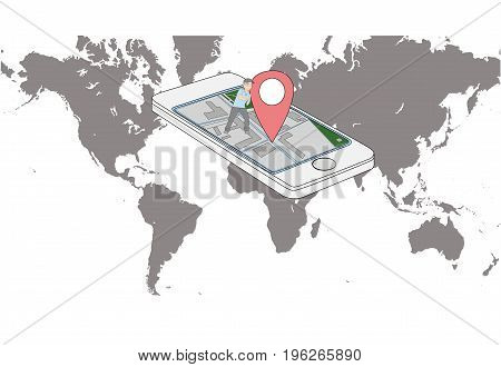 Smartphone on the world map with a GPS designation a little person supports it. Concept of rest and navigation. vector illustration.
