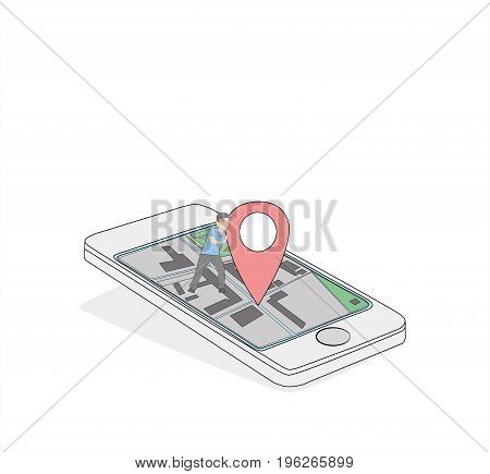 Smartphone with a GPS designation a little person supports it. Concept of rest and navigation. vector illustration.
