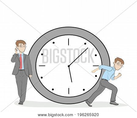 Businessman near the clock. The concept of working time. vector illustration.