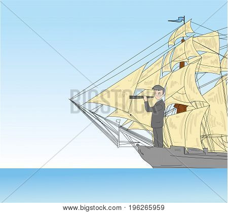 The businessman stands on the stern of the ship and looks into the telescope. vector illustration.