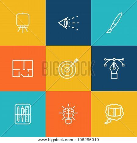 Set Of 9 Constructive Outline Icons Set