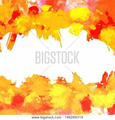 An abstract background with vibrant red, yellow, and orange painterly brush strokes on white. An artistic frame with copy space