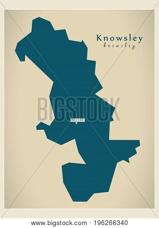 Modern Map - Knowsley District Of Merseyside Uk England