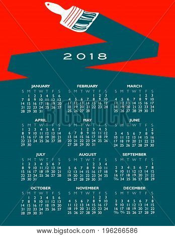 2018 creative painting calendar for print or web