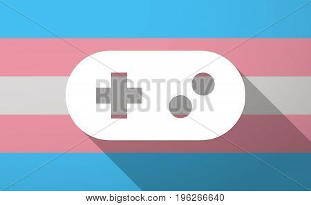 Long Shadow  Trans Gender Flag With A Game Pad