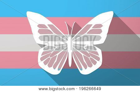 Long Shadow  Trans Gender Flag With A Butterfly