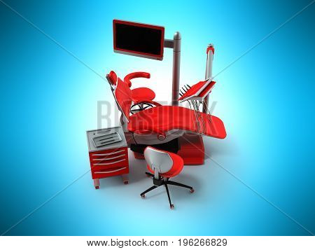 Dental Chair With Side Tables Red 3D Render On Blue Background