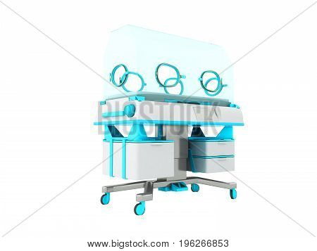 Incubator For Children Blue 3D Rendering On White Background No Shadow