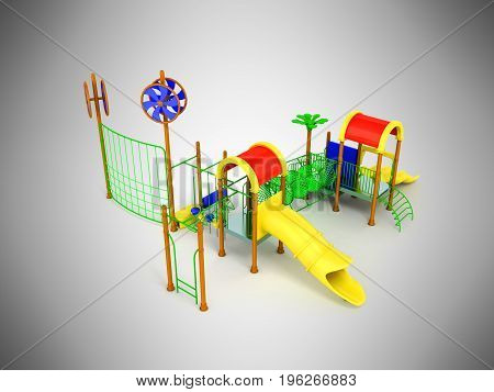 Playground Slide For Children Red Yellow 3D Render On Gray Background