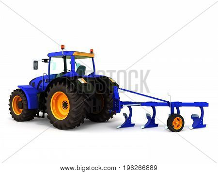 Tractor Blue 3D Render On White Background