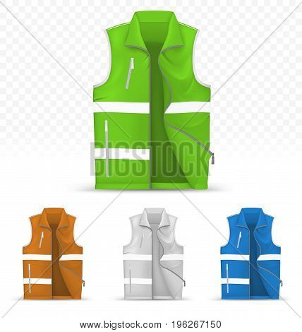 Template of reflective vest isolated on transparent background