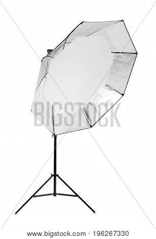 A professional metal gray octobox isolated over the white background. Studio equipment and lightning. A huge and tall octobox. Studio flashlight with a bright oct-box.