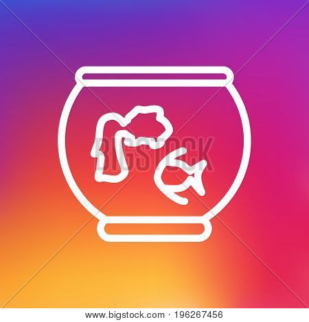Isolated Fishbowl Outline Symbol On Clean Background