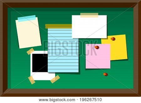 Message board With Blank Notes and Stickers. Vector Illustration