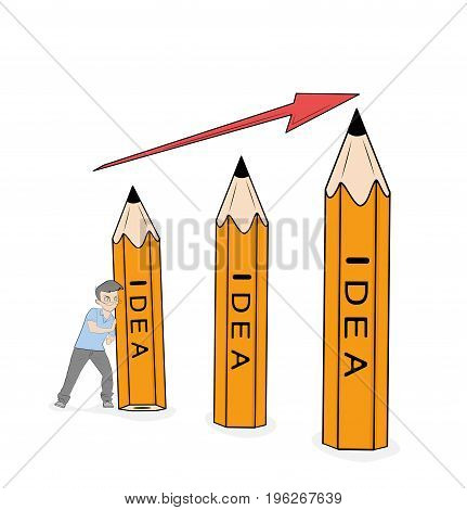 Little man supports a pencil idea. Hand drawn vector illustration for design.