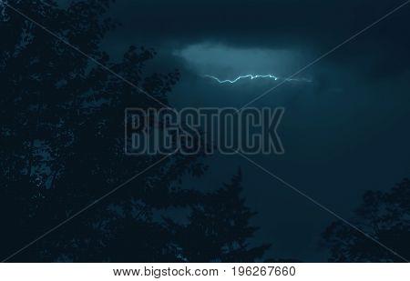 Lightning in storm sky like symbol of nature