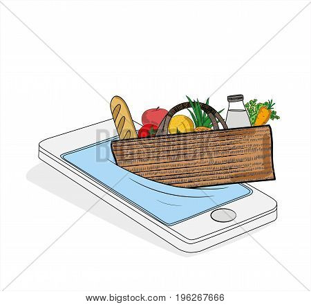 the purchase of products through the phone (smartphone). Concept of e-shop. vector illustration.